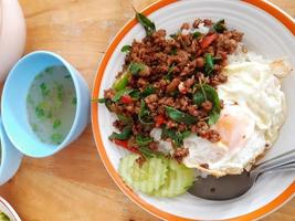 Close-up of stir fry and eggs