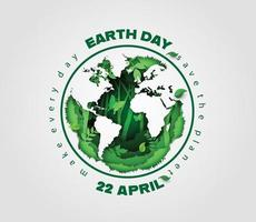 Planet earth surrounded by forest plants, Earth Day concept vector