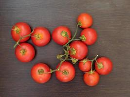 tomates sobre un fondo oscuro foto
