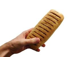 Hand holding a loaf of bread on a white background photo