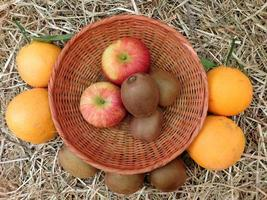 Kiwis and apples in a wicker basket next to oranges and kiwis on a hay or straw background