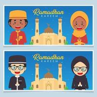 Happy Ramadhan Greeting Card with Character Set