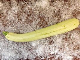 Zucchini on a bed of plastic straw