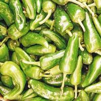 Pile of green peppers photo