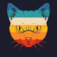 Cat retro colorful illustration vector
