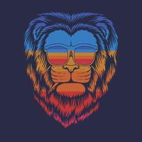 Ilustración de vector retro de anteojos de cabeza de león