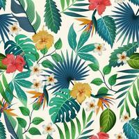 de patrones sin fisuras con hermosas flores tropicales y hojas de fondo exótico.