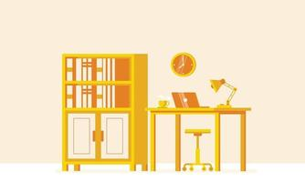 Background interior of empty home office room vector