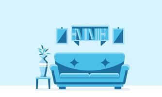 Interior background illustration of living room with sofa and bookshelf vector