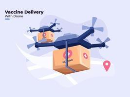 Ilustración plana de la entrega de la vacuna covid-19 con tecnología moderna de drones, distribución de vacunas contra el coronavirus en todo el mundo con drones, distribución de vacunas con distanciamiento físico, mantenerse a salvo. vector