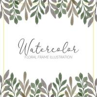 watercolor cute leaf foliage square frame vector