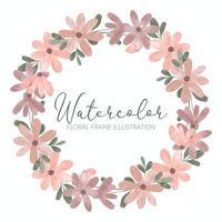 watercolor cute petal flower circle wreath vector