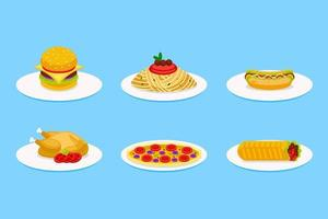 Set of fast food vector illustration on plate