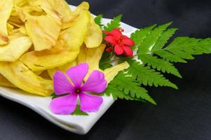 Fried durian with flowers and leaves photo