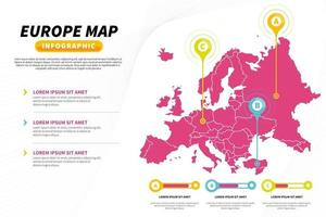 Europe map infographic presentation template vector