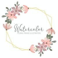 watercolor petal flower arrangement rustic frame vector