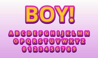 text effect boy font alphabet vector