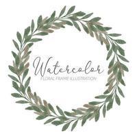 watercolor cute leaf foliage circle wreath vector