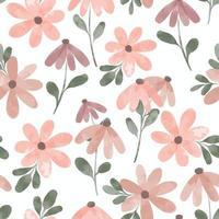 watercolor cute petal flower seamless pattern vector