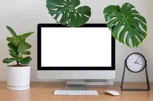 Minimalist desk top in a home photo