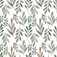 seamless pattern watercolor greenery foliage vector