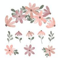 elemento de arreglo floral de pétalo lindo acuarela vector