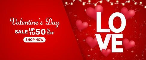 Valentine's day sale banner sale up to 50 percent off