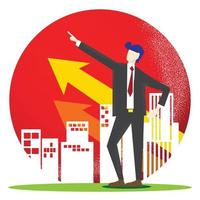 The business man and building arrow up for property content vector