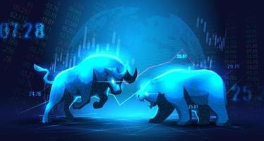 Concept art of Bullish vs Bearish economy in futuristic idea vector