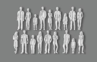 set of various people in paper art style. vector