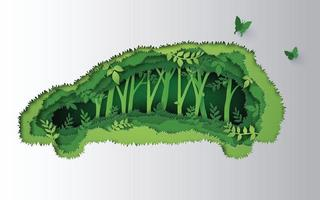 concept of eco car made of jungle. paper art and craft style. vector