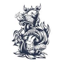 Ilustración de entintado de monstruo de setas