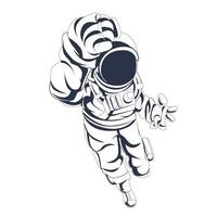 astronaut space inking illustration artwork vector