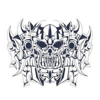 ilustraciones de ilustración de entintado de cráneo vector