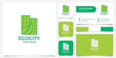 Leaf on Buildings Logo with Business Card Template vector