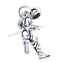 astronaut space sword inking illustration artwork vector