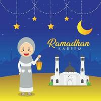Ramadhan Greeting Background with Character