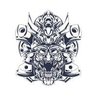 japan helmet inking illustration artwork vector