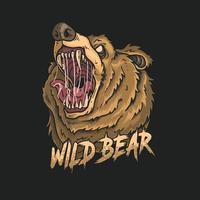 angry bear head illustration vector
