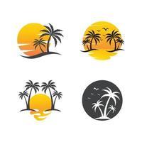 Palm tree summer logos vector