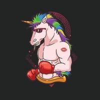 lindo, boxeador, unicornio, colorido, ilustración, vector