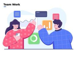 People working together in the office, Flat illustration of teamwork business, Work together with team to make business strategy, Project management and financial report strategy, Collaborative team, Team Analyze data graph. vector