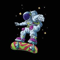 astronaut play skateboard illustration vector