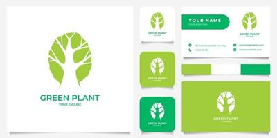 Simple Negative Space Tree Logo with Business Card Template vector