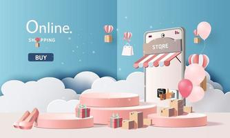 Sale banner for online shopping on smartphone vector