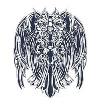 owl robotic inking illustration artwork vector