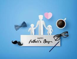 Happy Father's Day greeting card with mustache, necktie and glasses in paper cut style vector