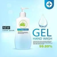 Gel de lavado de manos médico, botella transparente en ilustración 3d vector