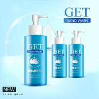 Medical hand wash gel, clear bottle in 3D illustration vector