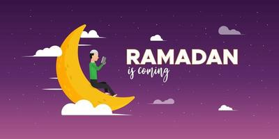 Ramadan Kareem greeting design banner with moon vector